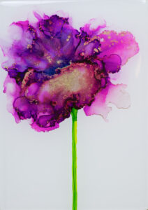 """Flower #12"" SOLD. Alcohol ink on yupo paper and cradled birch panel with resin. 5"" x 7"" x 2"", 2020"