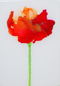 """Flower #25"" SOLD. Alcohol ink on yupo paper and cradled birch panel with resin. 5"" x 7"" x 2"", 2020"