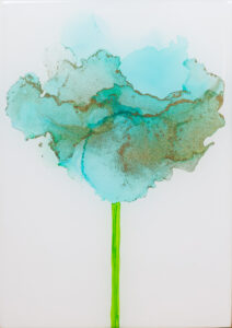 """Flower #30"" SOLD. Alcohol ink on yupo paper and cradled birch panel with resin. 5"" x 7"" x 2"", 2020"