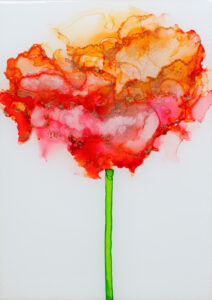 """Flower #32"" SOLD. Alcohol ink on yupo paper and cradled birch panel with resin. 5"" x 7"" x 2"", 2020"