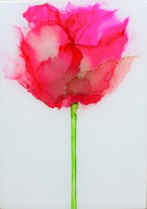 """Flower #33"" SOLD. Alcohol ink on yupo paper and cradled birch panel with resin. 5"" x 7"" x 2"", 2020"