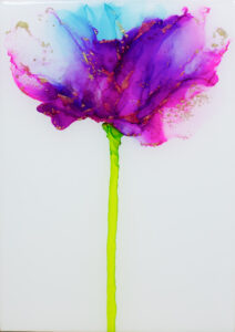 """Flower #34"" SOLD. Alcohol ink on yupo paper and cradled birch panel with resin. 5"" x 7"" x 2"", 2020"