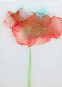 """Flower #35"" SOLD. Alcohol ink on yupo paper and cradled birch panel with resin. 5"" x 7"" x 2"", 2020"