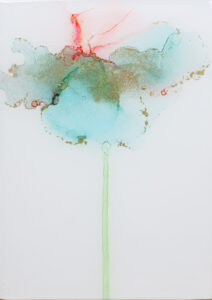 """Flower #36"" SOLD. Alcohol ink on yupo paper and cradled birch panel with resin. 5"" x 7"" x 2"", 2020"
