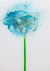 """Flower #37"" SOLD. Alcohol ink on yupo paper and cradled birch panel with resin. 5"" x 7"" x 2"", 2020"