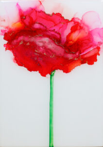 """Flower #39"" SOLD. Alcohol ink on yupo paper and cradled birch panel with resin. 5"" x 7"" x 2"", 2020"
