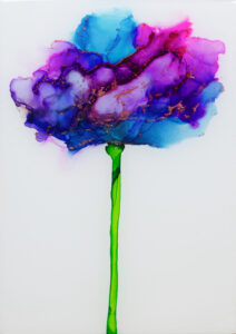 """Flower #41"" SOLD. Alcohol ink on yupo paper and cradled birch panel with resin. 5"" x 7"" x 2"", 2020"