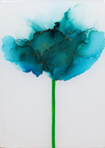 """Flower #42"" SOLD. Alcohol ink on yupo paper and cradled birch panel with resin. 5"" x 7"" x 2"", 2020"